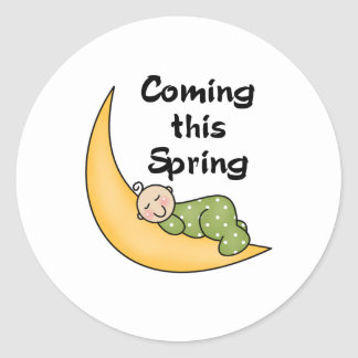 Baby on Moon Spring Classic Round Sticker