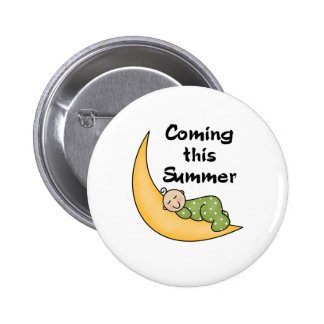 Baby on Moon Summer Pinback Button
