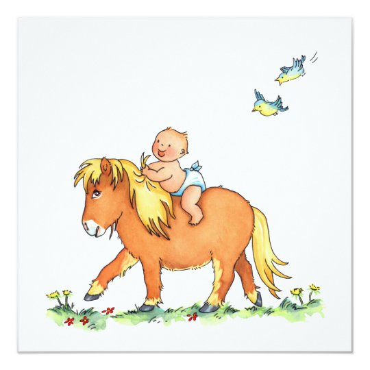 Baby on Pony Horse - Birth announcement