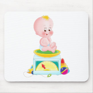 Baby on scale mouse pad