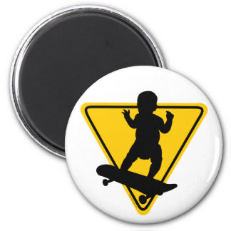 Baby on (Skate) Board 2 Inch Round Magnet