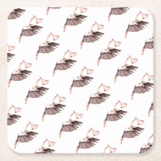 Baby on Stork Square Paper Coaster