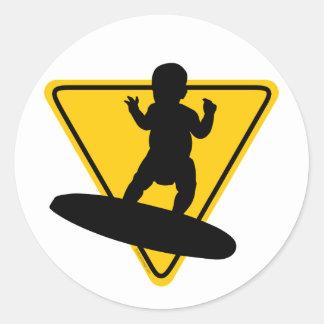 Baby on Surf Board Round Sticker