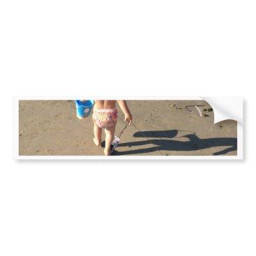 Beach Themed Baby on the beach bumper sticker