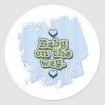 Baby on the Way - boy Round Stickers