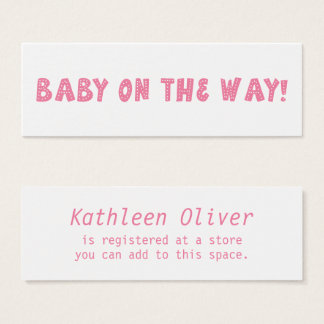 Baby on the Way Dotted Pink Gift Registry Card