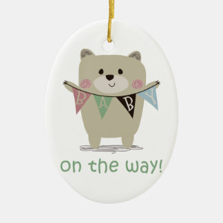 BABY ON THE WAY Double-Sided OVAL CERAMIC CHRISTMAS ORNAMENT