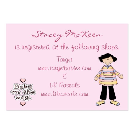 Baby On The Way Gift Registry Card Large Business Cards ...