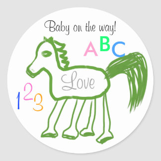 Baby on the Way Green Horse ABC 123 Stickers