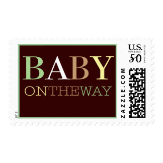Baby on the Way Modern Green & Brown Baby Postage