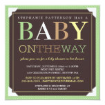 "Baby On the Way Modern Green & Brown Baby Shower 5.25"" Square Invitation Card"