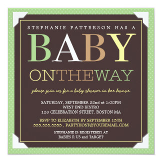 Baby On the Way Modern Green & Brown Baby Shower 5.25x5.25 Square Paper Invitation Card
