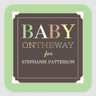 Baby on the Way Modern Green & Brown Baby Shower Square Sticker
