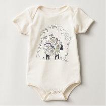 baby onesy--happy day sheep baby bodysuit