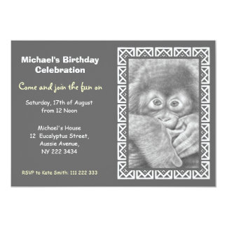 Baby Orang-utan Birthday Party Invitation