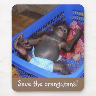 Baby orangutan : Save the orangutans Mouse Pad