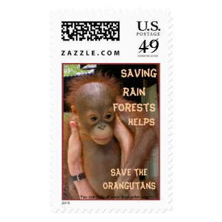 Baby Orangutan wildlife poster child Postage Stamps