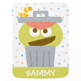 Baby Oscar the Grouch in Trashcan Receiving Blanket