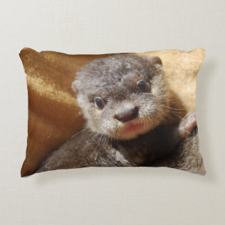 Baby otter accent pillow