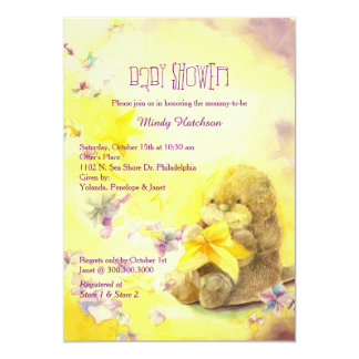 Baby Otter Purple n Yellow Baby Shower Card