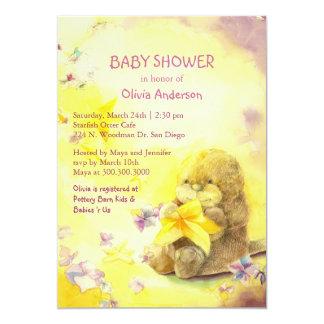 Baby Otter & Starfish Cute Baby Shower Card