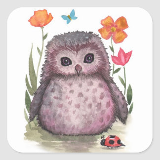 Baby Owl and Ladybug Stickers