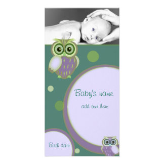 Baby Owl Announcement Photo Card Template