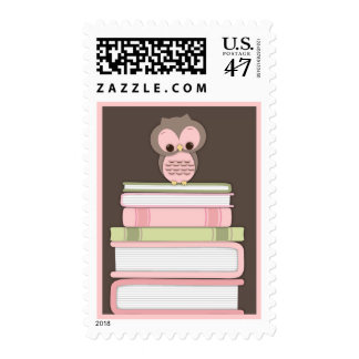 Baby Owl Book Stack Bring a Book Postage | Pink