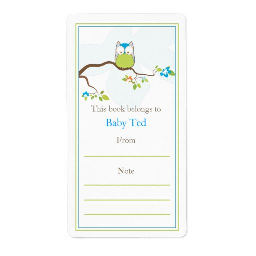 Baby Owl  Bookplate Label