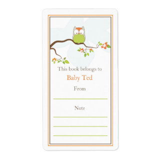 Baby Owl  Bookplate Custom Shipping Labels