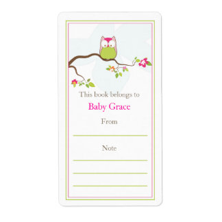 Baby Owl  Bookplate Personalized Shipping Labels