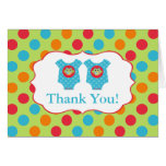 Baby Owl Clothes Boy Twins Baby Shower Thank You Card