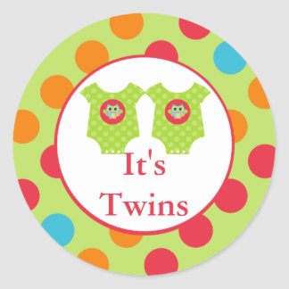 Baby Owl Clothes It s Twins Baby Shower Sticker