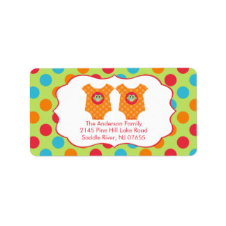 Baby Owl Clothes Twins Baby Shower Address Label