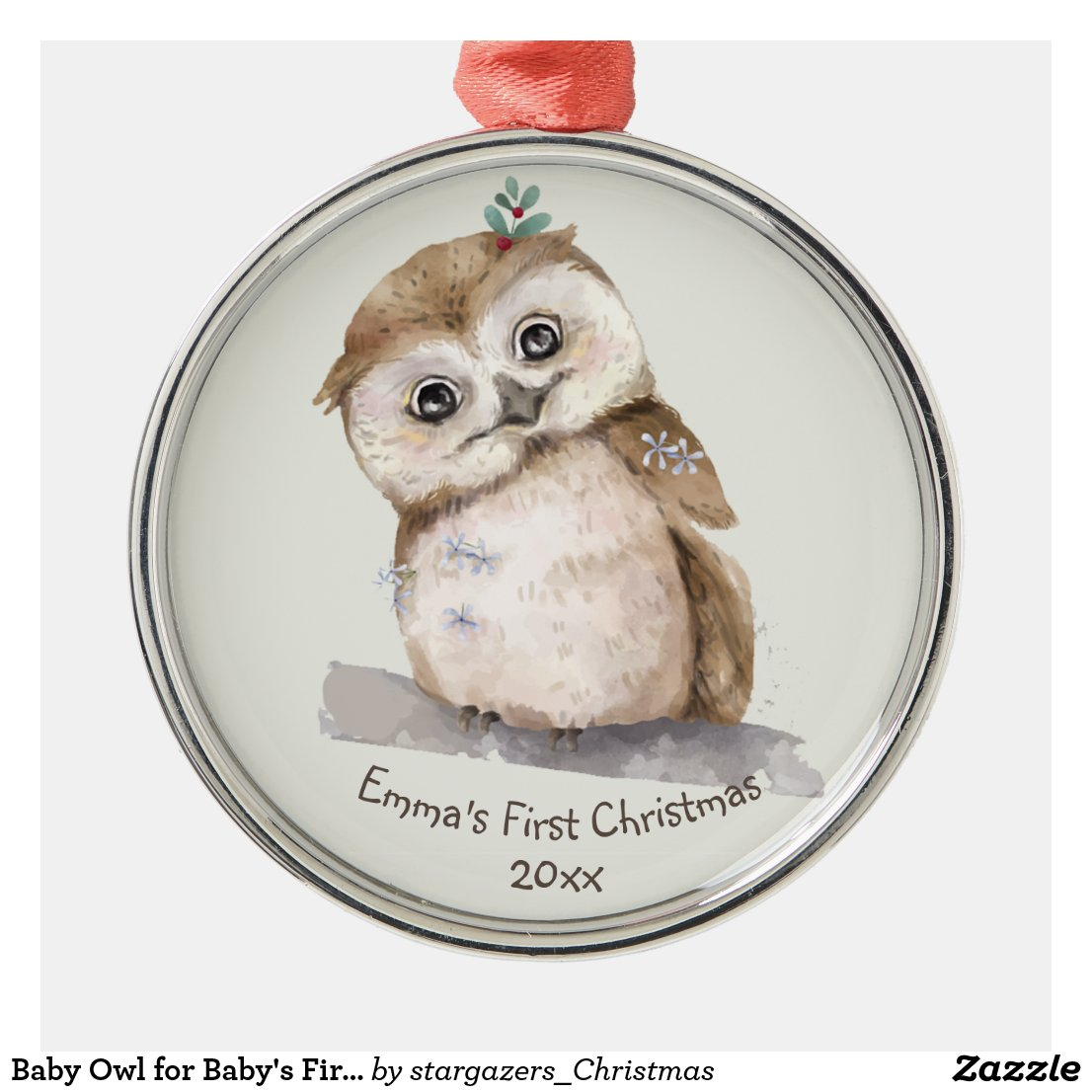 Baby Owl for Baby's First Christmas Metal Ornament
