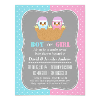 Baby Owl Gender Reveal Party Polka Dots Card