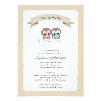 Baby Owl Girl & Boy Twin Baby Shower Invitation
