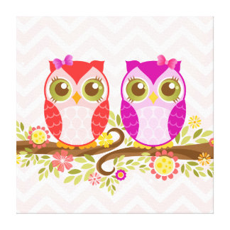 Baby Owl Girls - Stretched Canvas Wall Art Canvas Print