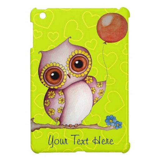 Baby Owl Green Hearts iPad Mini Case
