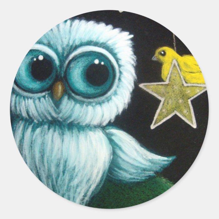 BABY OWL HANGING STARS & YELLOW BIRD Sticker