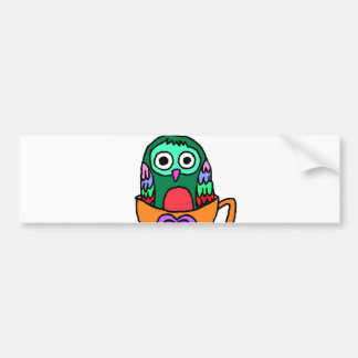 Baby Owl in a Teacup Car Bumper Sticker