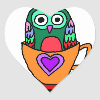 Baby Owl in a Teacup Heart Sticker