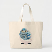 Baby owl large tote bag