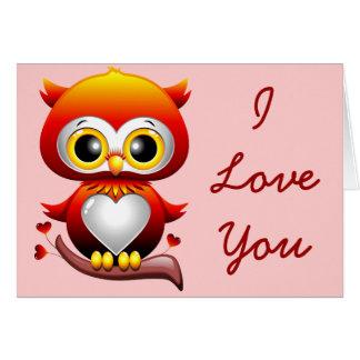 Baby Owl Love Heart Cartoon Note Card