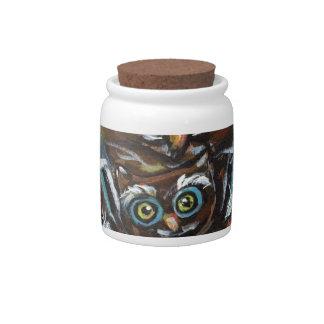Baby owl momma love hearts candy jar