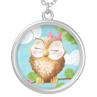 Baby Owl Round Pendant Necklace