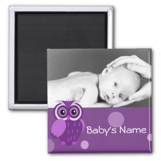 Baby Owl/ Photo 2 Inch Square Magnet