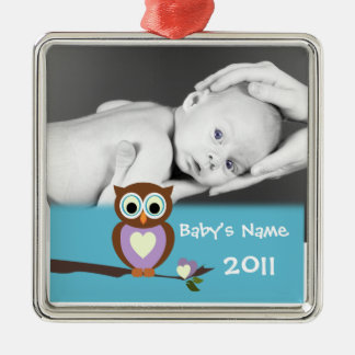 Baby Owl/Photo Metal Ornament