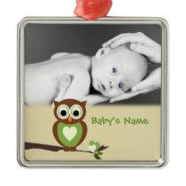Baby Owl/Photo Metal Ornament