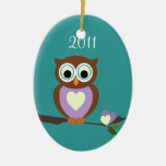 Baby Owl/ Photo Double-Sided Oval Ceramic Christmas Ornament